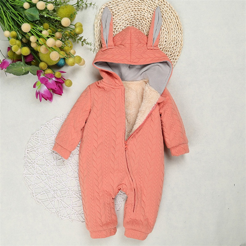 Infant Costumes Newborn Hooded Clothing Winter Rabbit Ears Romper Cotton Baby Girls Clothes Jumpsuit Thicken Overalls Cartoon