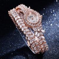 Xinge Brand 2017 30M Waterproof Gold Silver Natural Zircon Wrist Watch Women Luxury Ladies Bracelet Watch