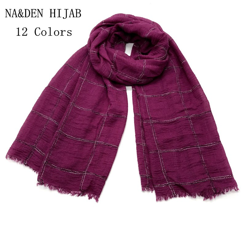 2019 High quality print vintage Plaid tassels shawls headband bandana hijab muffler muslim scarves scarf Free