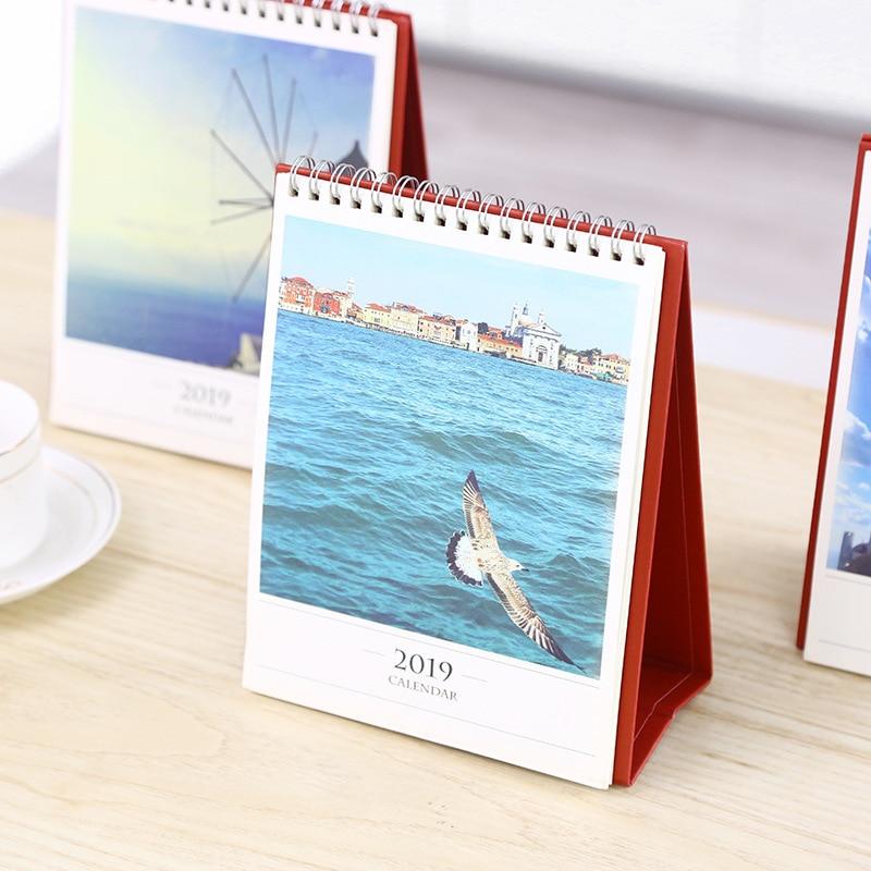 2019 Creative Venice Aegean Sea Church Table Desktop Calendar Agenda Organizer Daily Scheduler Planner 2018.06~2019.12 cute colorful floral design portable daily 2018 planner lovely doll girl scheduler 256p 11 8 15 4 2 3cm agenda gift