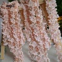 mylb 10pcs 180cm/pcs long artificial wisteria flower vines wedding arch flowers rattan marrige party Garlands Decoration Floral
