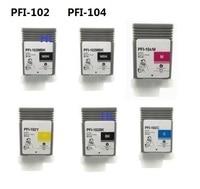 6pcs Compatible Canon Ink Cartridge PFI 102 PFI 104 For Canon Printer IPF650 IPF655 IPF750 IPF760