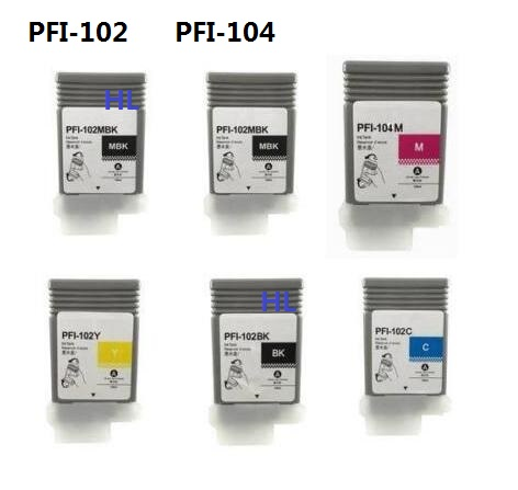 6pcs Compatible Canon ink cartridge PFI-102 PFI-104 for Canon Printer iPF650 iPF655 iPF750 iPF760 iPF765 full ink 6 pcs ink cartridge t0771 t0772 t0773 t0774 t0775 t0776 for epsonr260 r380 r280 rx580 rx680 rx595