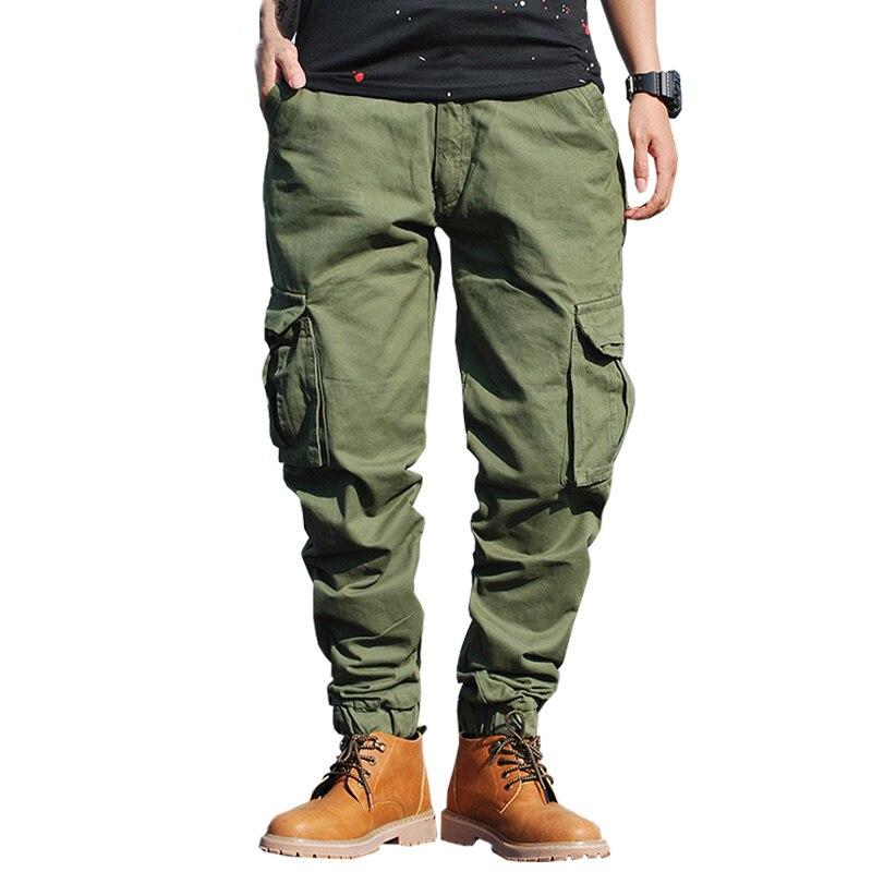 Drop shipping 2018 new winter men cargo pants solid color joggers military sweatpants 29 38 AXP113