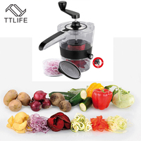 TTLIFE Manual Multi Functional Kitchen Shredders Spiral Slicer Fruit Vegetable Cutter Chopper Cooking Gadget Tools