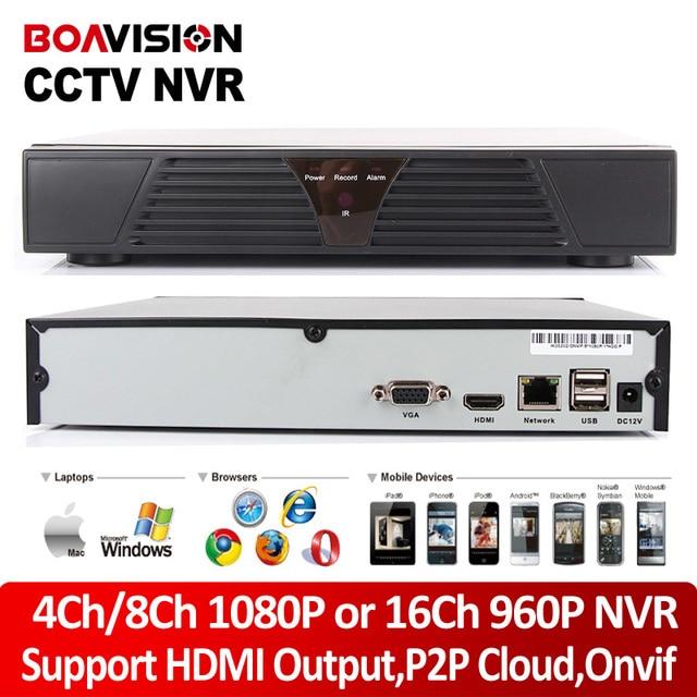 4Ch 8Ch 1080 P ВИДЕОНАБЛЮДЕНИЯ ONVIF NVR 16Ch 960 P HDMI Выход Сети рекордер P2P Облако IOS Android Просмотр Для Onvif Ip-камера 720 P/1080 P