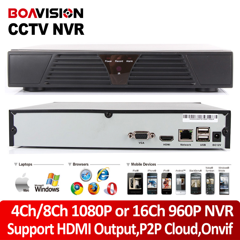 4Ch 8Ch 1080P CCTV ONVIF NVR 16Ch 960P HDMI Output Network Recorder P2P Cloud IOS Android
