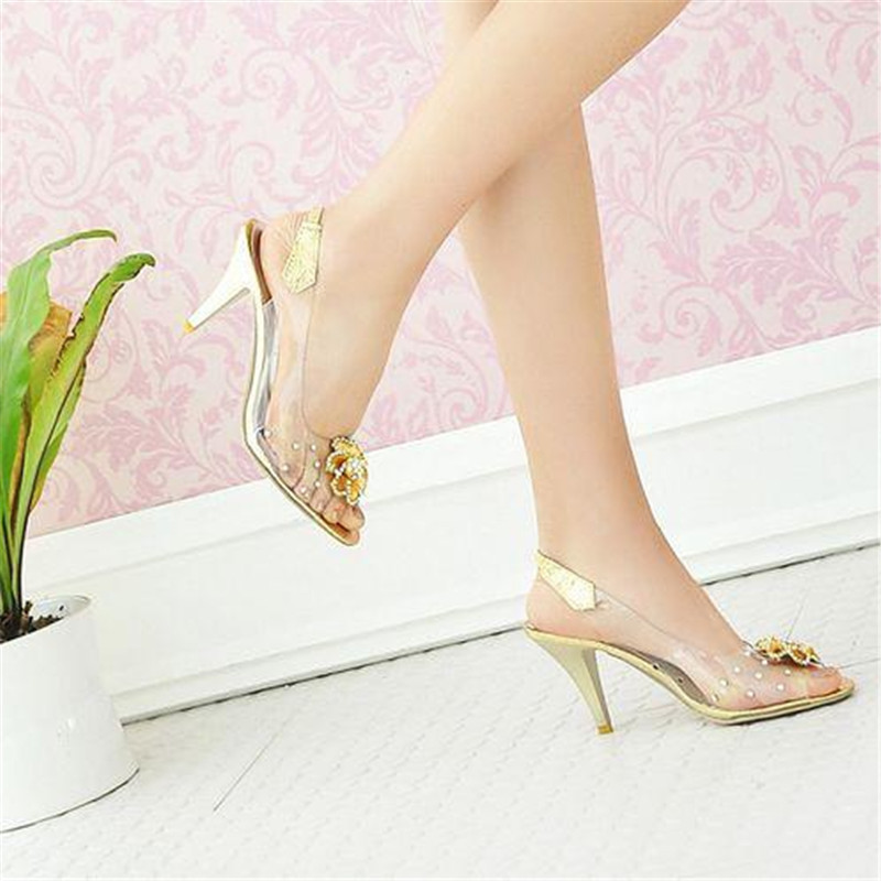 Cinderella glass slipper 2015 women transparent crystal wedding rhinestone  prom high heel sandals woman shoes sandalias mujer 45-in Women s Sandals  from ... 577f76eb4bef