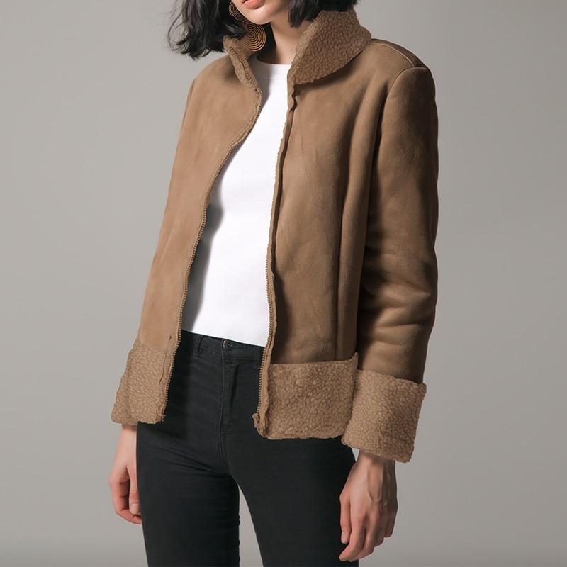 Women Coats Fashion Jacket Leather Turtleneck Patchwork Zipper 2018 Winter Autumn Outwear for Female Coats Elegant Warm Overcoat