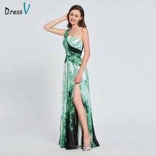 Dressv элегантное платье трапециевидной формы с принтом на одно плечо для выпускного вечера плиссированное платье с разрезом спереди в пол вечернее платье платья для выпускного вечера на заказ