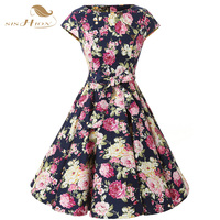 SISHION Fashion Sexy Women Elegant Summer Floral Dresses Plus Size Women Clothing Short Sleeve Vestido Casual