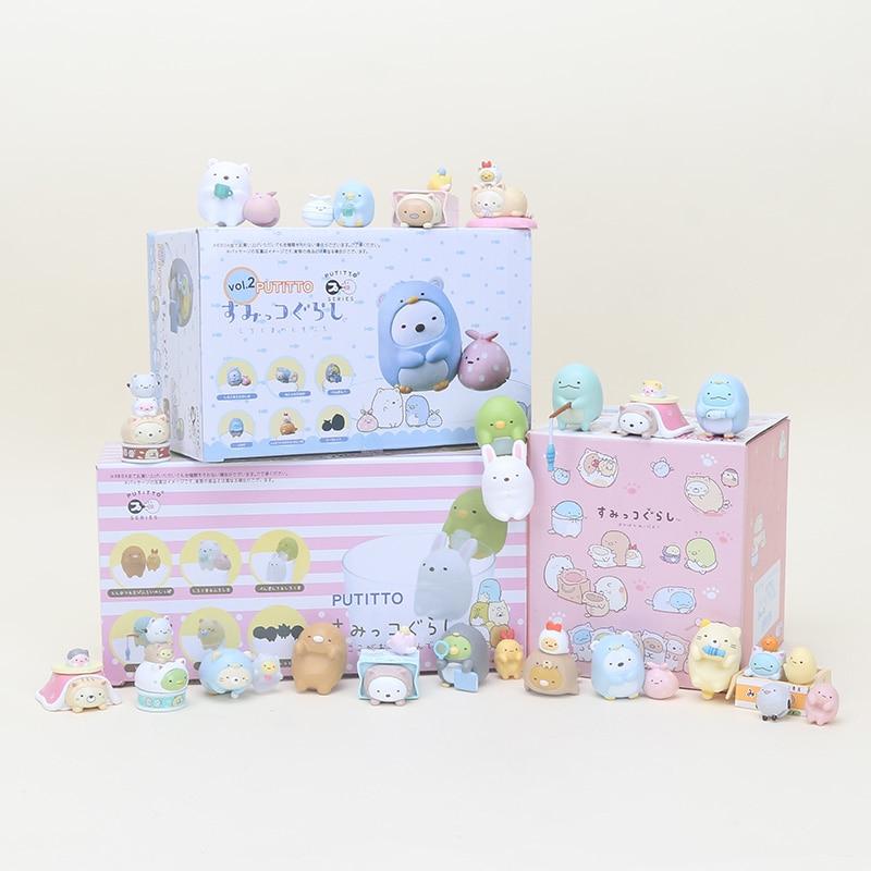 Cute Putitto Series Sumikkogurashi Figure Toy White Bear Cat Penguin Lizard Animal Mini Figure PVC Toys For Cup Decoration