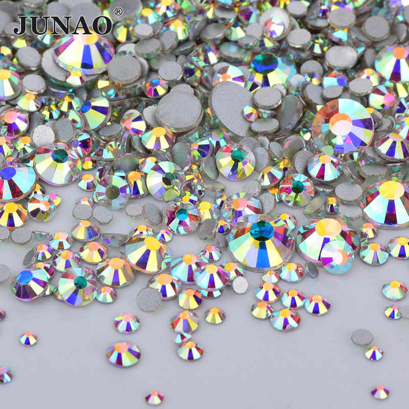 JUNAO 1440pc Mix 8 Maat Shiny Crystal AB Glas Nail Strass Platte Achterkant Steen Nail Crystal Stickers Niet Hotfix strass Diamond