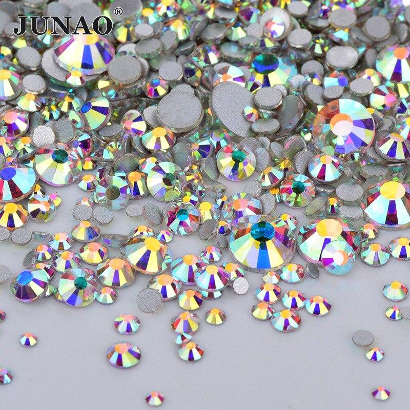 JUNAO 1440 pz Mix 8 Dimensioni di Vetro di Cristallo AB Rhinestones della Parte Posteriore Piana rotondo Pietre Nail Art Non Hotfix Cristalli Chiaro Strass per DIY