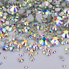 JUNAO 1440pcs Mix 8 Size Glass Crystal AB Rhinestones Flat Back Round Nail  Art Stones Non Hotfix Clear Strass Crystals for DIY c1dfd624401a