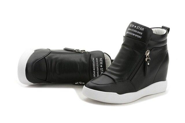 Fujin 2017 summer autumn platform wedge heel boots Women Shoes with increased platform sole female fashion casual zip botas