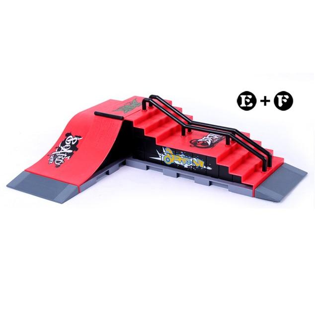 Model E+F Mini Ramp Finger Skateboard Park Skatepark Tech-Deck Skate Park Includes 2 Board Unilateral Slope&Steps Shape