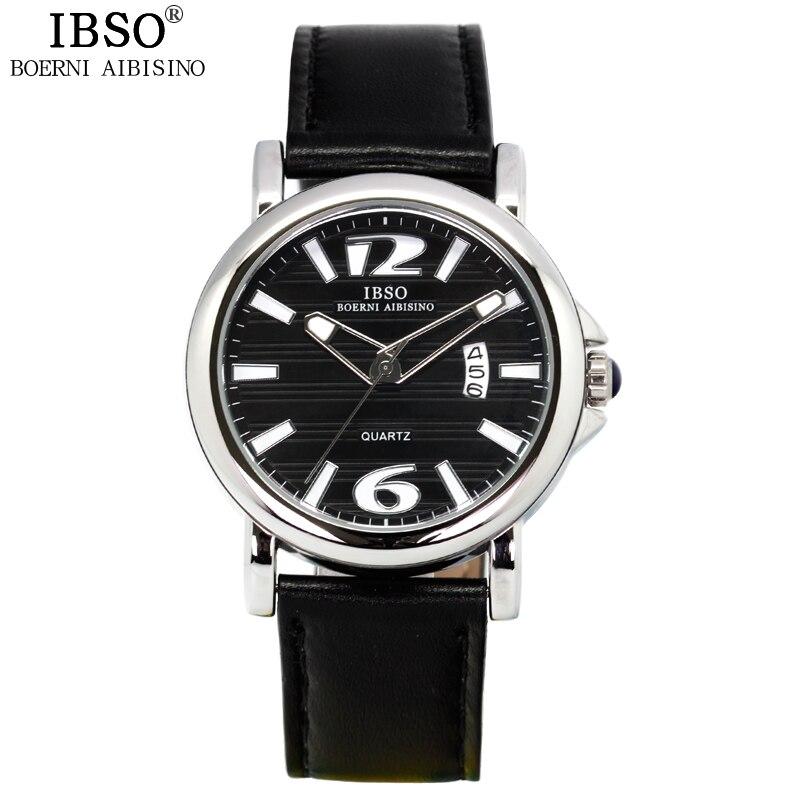 ФОТО 2017 IBSO Complete Calendar Watches For Men Week Display Quartz Watch Genuine Leather Strap relogio masculino Erkek Kol Saati