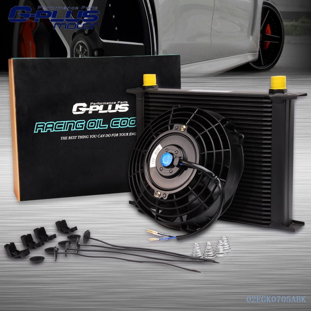 Universal 30 Row Engine Transmission 10an Oil Cooler + 7