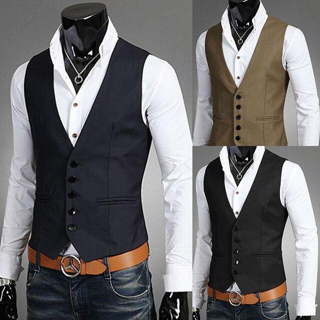 Hot sale 2016 New Arrival Mens Casual vest Slim V-neck vest Fashion men suits vest Handsome Man Busness Blazer Vest Slim Fit
