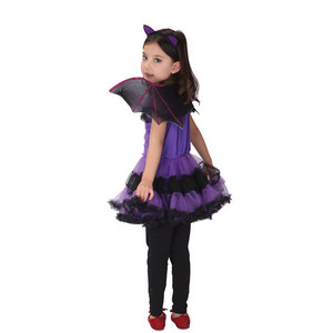Image 4 - 90 160 cm בנות ליל כל הקדושים סגול עטלף ערפד נסיכת שמלת כנף סרט קוספליי תלבושות ילדים סטי מפחיד ליצן מכשפה בגדים