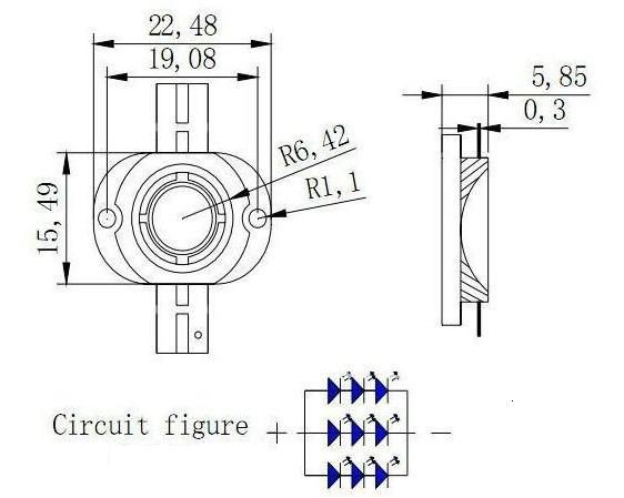 10W Round led package dimensions