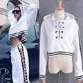 BringBring 2017 Fashion Hip Hop Hipster White Loose Sweatshirt Women Causal Cotton Bandage Pullover With Hoodies 1776
