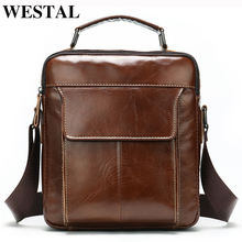 WESTAL Messenger Bag Men's Shoulder Bags Genuine Leather Fas