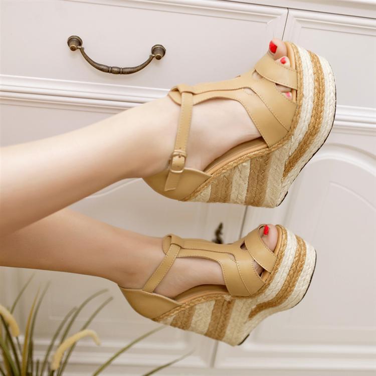 ФОТО Women wedges 13.5cm high heels sandals Straw heel shoes Casual platform shoes open toe sy-1119