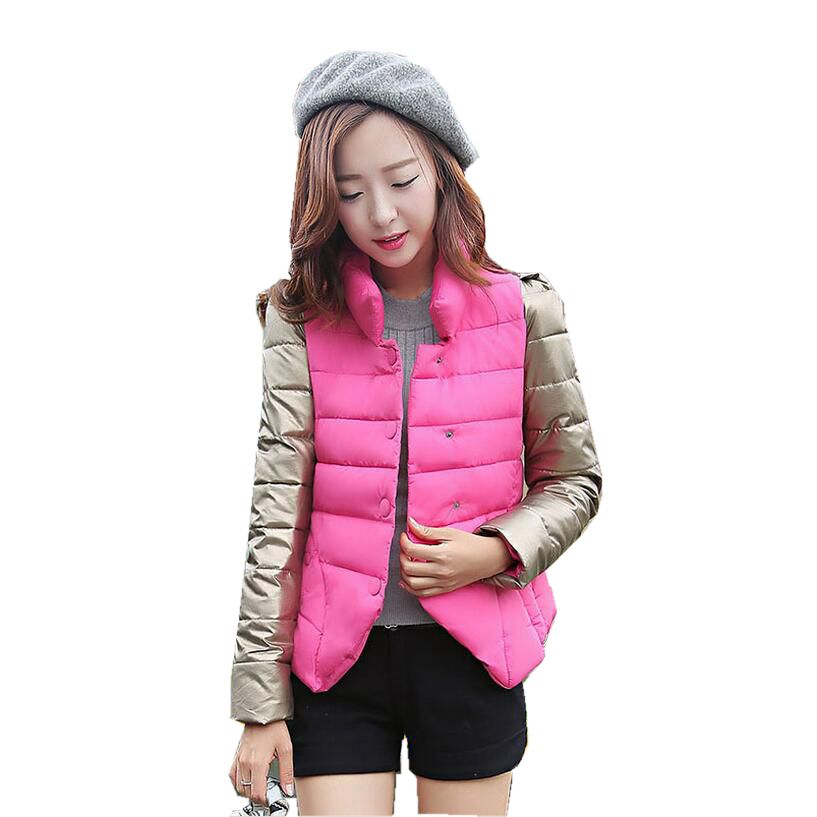 2017 New Winter Fashion Women Down jacket  Stand collar Thick Super warm Short Coat Patchwork color Slim Big yards Coat SJ1131 2016 new european fashion woman winter duck down jacket stand collar warm coat cool color patchwork outerwear streetwear a3424