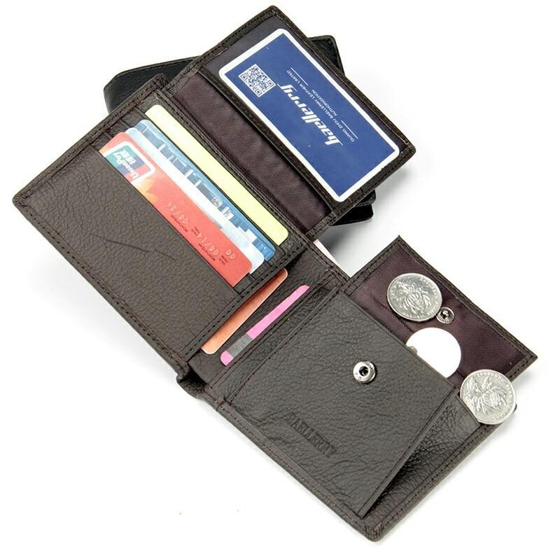 Двойной мужской кошелек из натуральной кожи, Большой Вместительный Многофункциональный кошелек, практичные короткие кошельки, внутренний карман для монет WB183