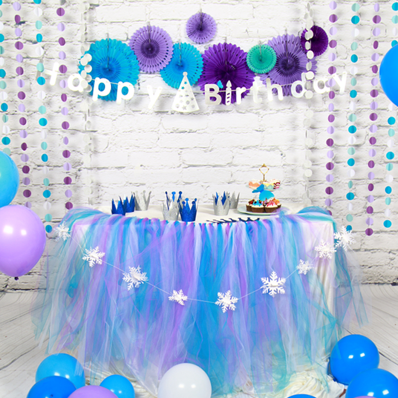 Birthday Table Skirts Decor Paper Garland Flower Ball Fan Boy Girl Happy Birthday Set Balloons Baby Shower Kids Party Supplies