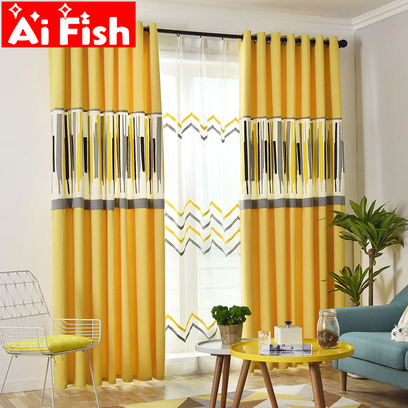 Modern Simple Yellow Art Geometric Blackout Curtains For Living Room Nordic White Stripe Curtains Screen Bedroom Tulle MY031#40