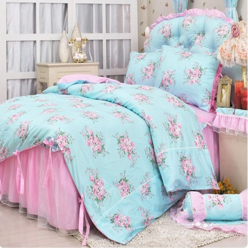 pastoral lace bedspread princess bedding sets queen size 4pcs pink bow comforter duvet cover bed. Black Bedroom Furniture Sets. Home Design Ideas