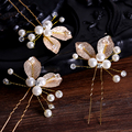 1PC Luxury Wedding Orchid Leaves Hair Pin Tiara Simulated Pearl Crystal Bridal Hair Accessories For Women Jewelry