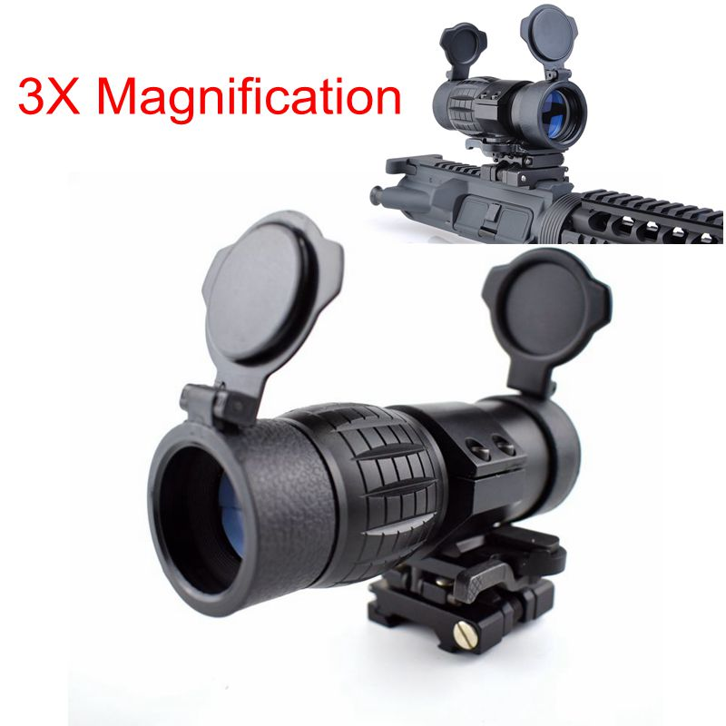 Hot Sell Airsoft Air Gun Hunting Rifle Tactical 3X Magnifier With Switch To Side STS Quick Detachable / QD Mount 20MM Rail Use