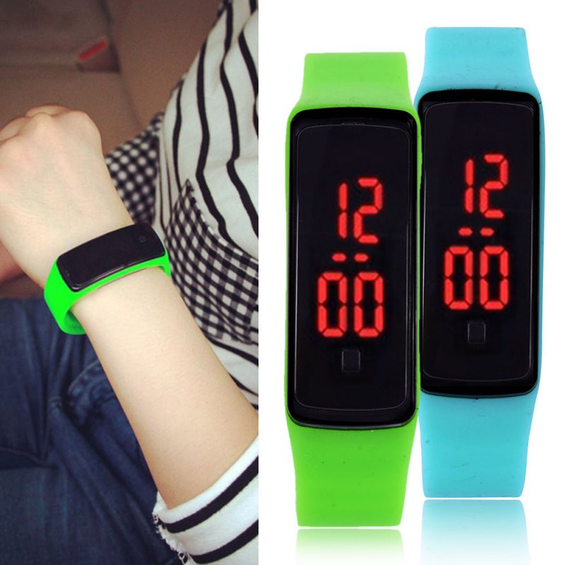 New brand LED Contracted fashion digital 14 color kids men and women sports silicone quartz font