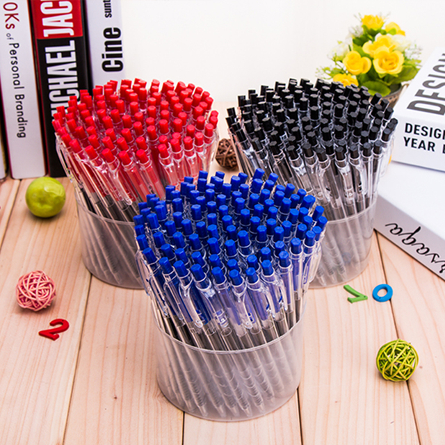 Press automatic bounce blue black red ballpoint pen Pens Pencils Writing Supplies Creative students gift office stationery Z8019