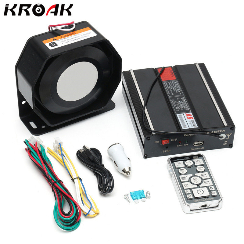 Kroak 200W 12V Car Alarm For Police Loud Speaker PA Fire Siren Horn Bluetooth Safe System Kit w h30 black reversing alarm speaker back up waterproof reverse backup alarm horn for car vehicle truck 12v 24v 48v 60v