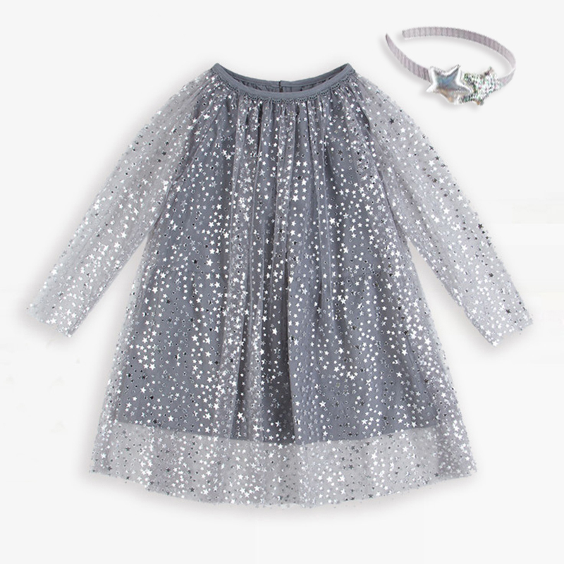 Girls Dress Wedding Dress Princess Costume Shiny Baby Birthday Dress Doodle Silver Foil Print Shiny Stars Gray Yarn Dress palm print cami dress
