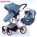 Безопасная Европейская детская коляска 3 в 1  крепкая подвеска  модный дизайн  детская коляска  детская коляска с машинкой  ударопрочная четы...