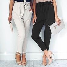 2018 New Fashions Women S Pants Long Casual Harem Pure Color Elastic Chiffon Trousers