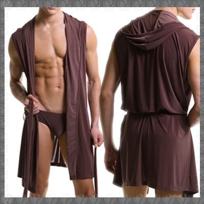 HOT Hombres Robes Albornoz Bata Más El Tamaño Marca Manview Hombre Para Hombre Sexy Seda ropa de Dormir Masculina Salón Pijama de Dormir Homewear Gay Con Capucha