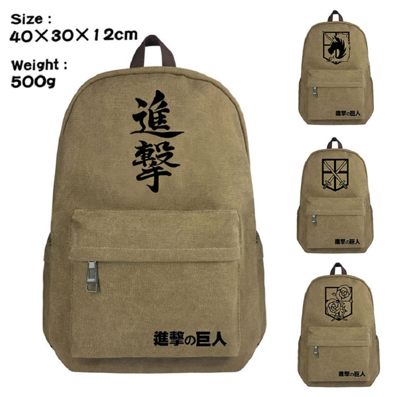Cartoon anime Attack on titan backpack Childrens School bag canvas unisex anime BackpackCartoon anime Attack on titan backpack Childrens School bag canvas unisex anime Backpack