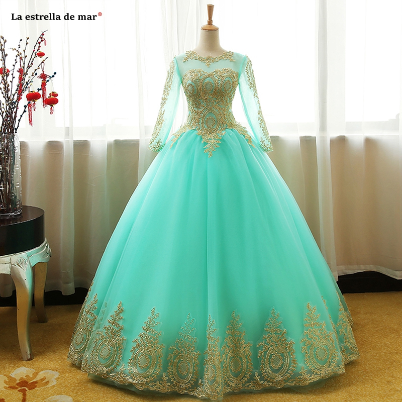 Gala jurken new Scoop neck tulle gold applique long sleeve Ball Gown turquoise pink champagne navy blue   prom     dresses   Floor Lengt