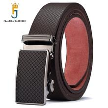 FAJARINA Mens Quality Design Cowhide Leather Belt Novelty Plaid Alloy Automatic Metal Men Waist Corset Belts 35mm Wide N17FJ433