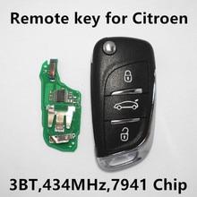 Llave alejada para Citroen DS4 DS5 C4 DS Coche HELLA Control de Entrada Sin Llave de 3 Botones 434 Mhz 7941 Chip