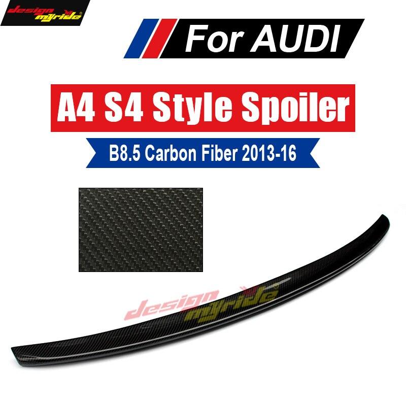 Подходит для Audi A4 B8.5 крыло задний спойлер настоящий углерод волокно S Style A4 A4Q A4A B8.5 спойлер заднего багажника, крыла глянцевый черный 2013 2016