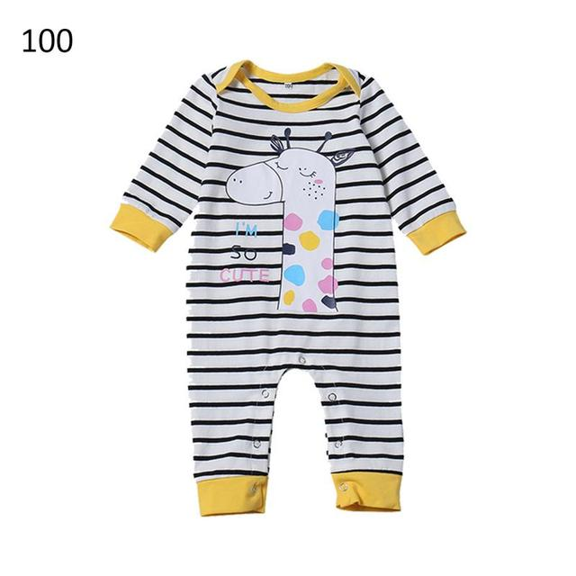 23bfa98bbbf Newborn Baby Boys Girl Long Sleeve Giraffe Print Baby Jumpsuit Black And  White Striped Print Jumpsuit Infant Hoodies