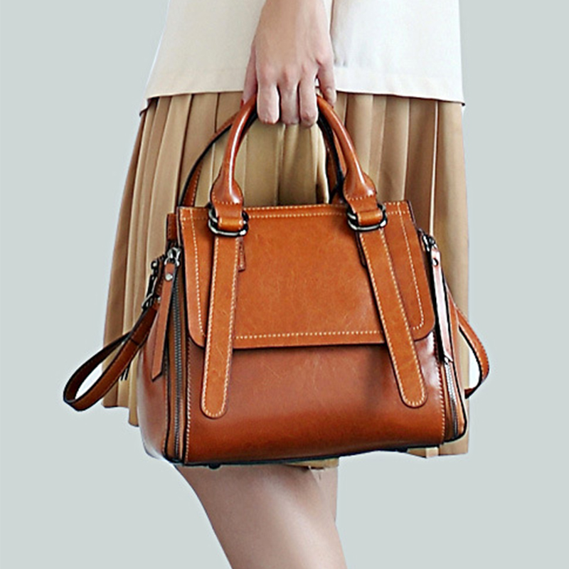 High Quality Women Genuine Leather Top Handle Bag Fashion Female Real Cowhide Shoulder Messenger Cross Body